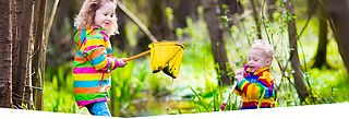 Kinder im Wald spielen